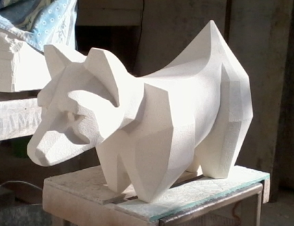 Facet Dog|Oamaru Stone. 400x650x300mm|SOLD